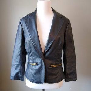Last Kiss Black Faux Leather Jacket Ladies S